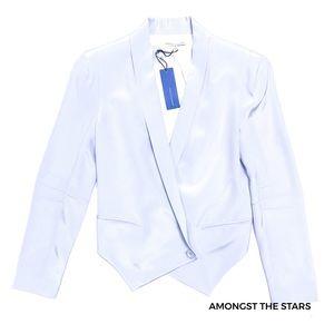 Rebecca Minkoff Becky Silk Blue Blazer Jacket